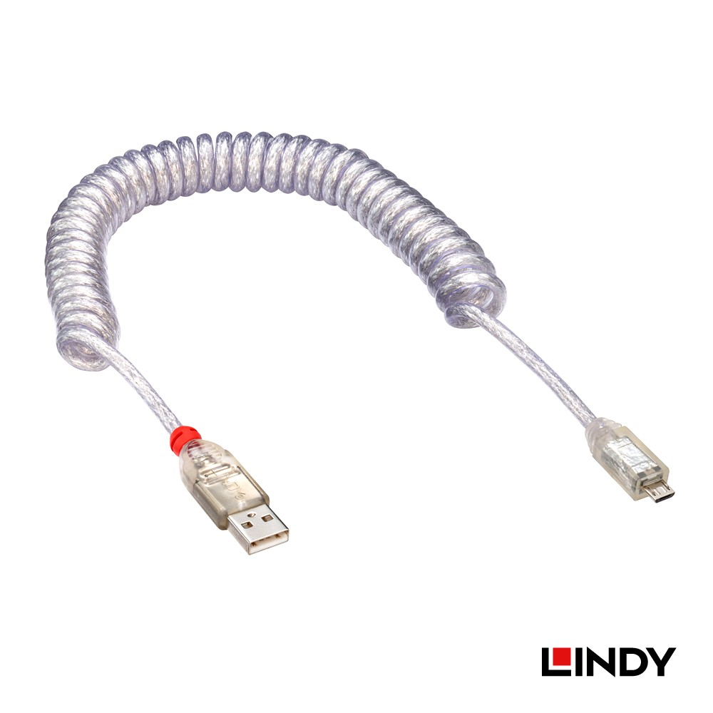 LINDY-USA 2m USB 2 Type A to Micro-B 0 Coiled Cable Transparent 31926