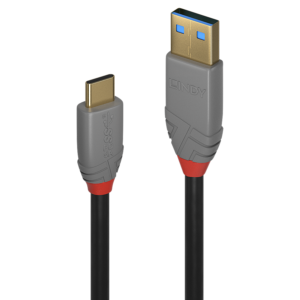 1.5m USB 3.1 Type A to C Cable, 5A PD, Anthra Line