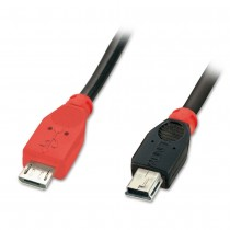 Black USB 2.0 OTG Cable, Type Micro-B to Mini-B, 0,5m
