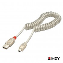 USB 2.0 Coiled Cable, Type A to Mini B, Transparent, 2m