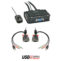 2 Port VGA, USB 2.0 & Audio KVM Switch Compact