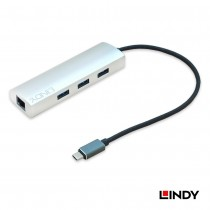 USB 3.1 Type C to Gigabit LAN and 3 Port Type A Hub Adapter